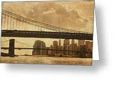 Tale of Two Bridges Greeting Card by Joann Vitali