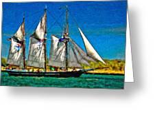 Tall Ship paint  Greeting Card by Steve Harrington