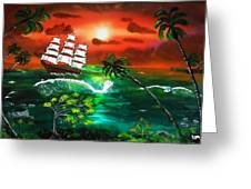 Tallship At Sunset Greeting Card by Amy LeVine