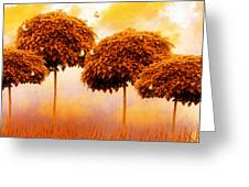 Tangerine Trees and Marmalade Skies Greeting Card by Mo T