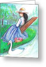 Tangi Resting By The Water Greeting Card by Barbara LeMaster