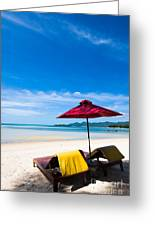 Tanning Beds On A Tropical Beach Koh Samui Thailand Greeting Card by Fototrav Print