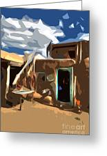 Taos Pueblo Abstract Greeting Card by K D Graves