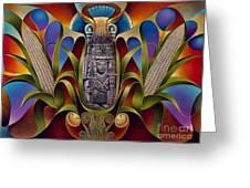 Tapestry Of Gods - Chicomecoatl Greeting Card by Ricardo Chavez-Mendez
