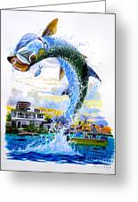 Tarpon Leap Greeting Card by Carey Chen