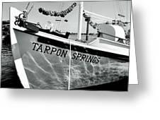 Tarpon Springs Spongeboat Black And White Greeting Card by Benjamin Yeager
