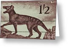 Tasmanian Tiger Vintage Postage Stamp Greeting Card by Andy Prendy