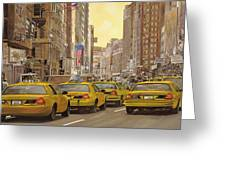 taxi a New York Greeting Card by Guido Borelli