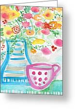 Tea And Fresh Flowers- Whimsical Floral Painting Greeting Card by Linda Woods
