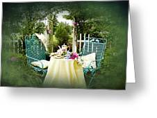 Tea In My Garden Greeting Card by Trudy Wilkerson