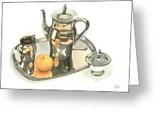 Tea Service With Orange Dramatic Greeting Card by Kip DeVore