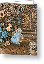 Tea Time  Old Storybook Style Greeting Card by Kyra Wilson