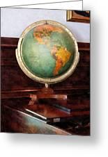 Teacher - Globe On Piano Greeting Card by Susan Savad