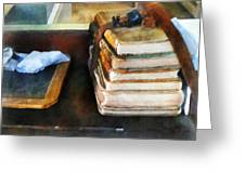 Teacher - Old School Books And Slate Greeting Card by Susan Savad