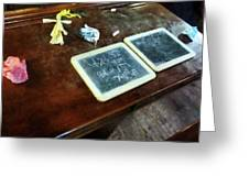 Teacher - School Slates Greeting Card by Susan Savad