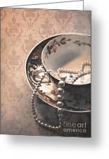 Teacup And Pearls Greeting Card by Jan Bickerton
