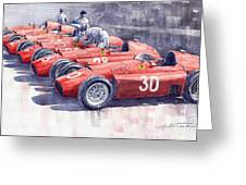 Team Lancia Ferrari D50 type C 1956 Italian GP Greeting Card by Yuriy  Shevchuk