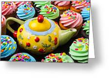 Teapot And Cupcakes  Greeting Card by Garry Gay