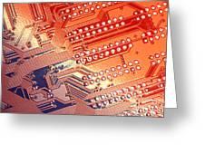 Tech Abstract Greeting Card by Tony Cordoza