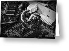 Technology - Motherboard In Black And White Greeting Card by Paul Ward