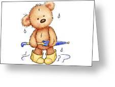 teddy bear with umbrella Greeting Card by Anna Abramska