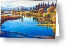 Tee Time Sunriver Meadows Greeting Card by Pat Cross