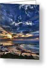 Tel Aviv Sunset At Hilton Beach Greeting Card by Ron Shoshani