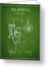 Telephone Patent Drawing From 1898 - Green Greeting Card by Aged Pixel