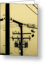 Telephone Pole And Sneakers 5 Greeting Card by Scott Campbell