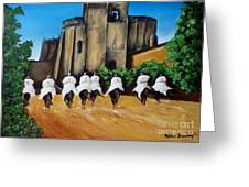 Templar Knights And The Convent Of Christ Greeting Card by Kaye Miller-Dewing