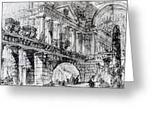 Temple Courtyard Greeting Card by Giovanni Battista Piranesi
