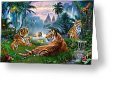 Temple Lake Tigers Greeting Card by Jan Patrik Krasny