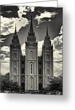 Temple Square Black And White Greeting Card by Joshua House