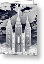 Temple Square Nightmare Greeting Card by Joshua House