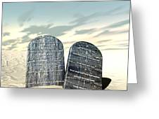 Ten Commandments Standing In The Desert Greeting Card by Allan Swart