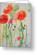 Tender Poppies - Flower Greeting Card by Ismeta Gruenwald
