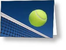 Tennis Ball And Net Greeting Card by Joe Belanger