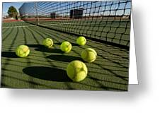 Tennis balls and court Greeting Card by Joe Belanger