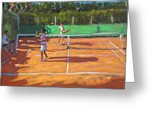Tennis practice Greeting Card by Andrew Macara