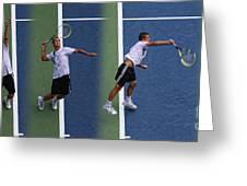Tennis Serve by Mikhail Youzhny Greeting Card by Nishanth Gopinathan