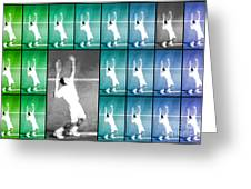 Tennis Serve Mosaic Abstract Greeting Card by Natalie Kinnear