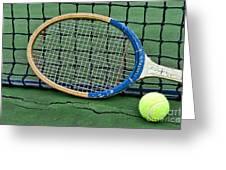 Tennis - Vintage Tennis Racquet Greeting Card by Paul Ward
