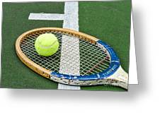 Tennis - Wooden Tennis Racquet Greeting Card by Paul Ward