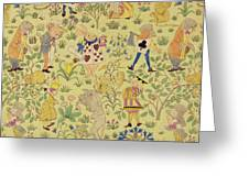 Textile Design For Alice In Wonderland Greeting Card by Voysey