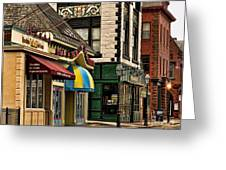 Thames Street Before The Crowds Come Greeting Card by Nancy  de Flon