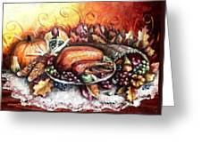 Thanksgiving Dinner Greeting Card by Shana Rowe Jackson