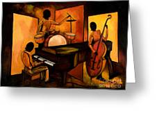 The 1st Jazz Trio Greeting Card by Larry Martin