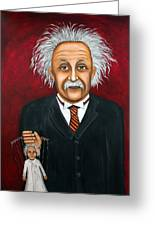 The 2 Einstein's Greeting Card by Leah Saulnier The Painting Maniac