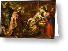The Adoration Of The Magi Greeting Card by Orazio de Ferrari