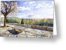 The Alhambra In Autumn Greeting Card by Margaret Merry